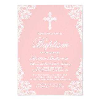 Le baptême de fille élégant rougissent photo carton d'invitation  12,7 cm x 17,78 cm