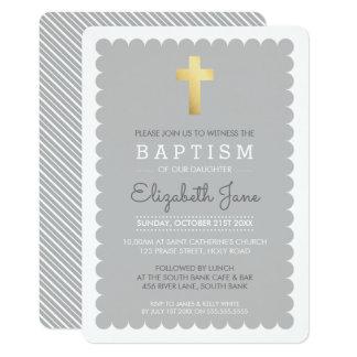 Le baptême moderne de CROIX MIGNONNE d'OR a cranté Carton D'invitation 12,7 Cm X 17,78 Cm