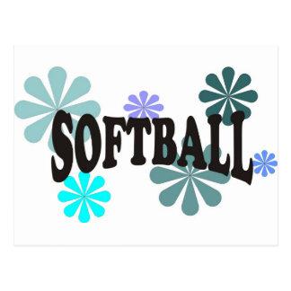 Le base-ball avec les fleurs bleues carte postale