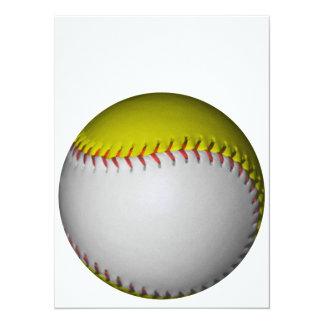 Le base-ball/base-ball blancs et jaunes invitations personnalisées