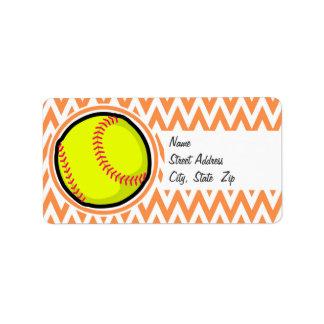 Le base-ball Chevron orange et blanc Étiquettes D'adresse