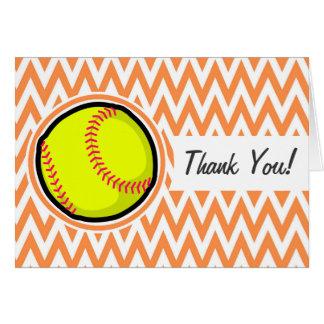 Le base-ball Chevron orange et blanc Cartes De Vœux