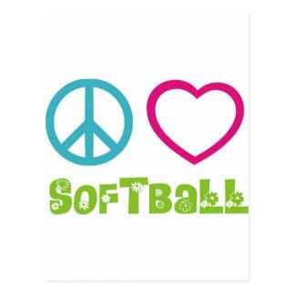 Le base-ball d'amour de paix cartes postales