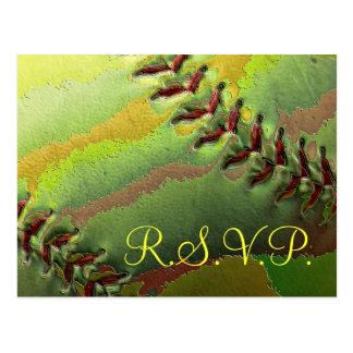 Le base-ball folâtre le thème RSVP de mariage Carte Postale