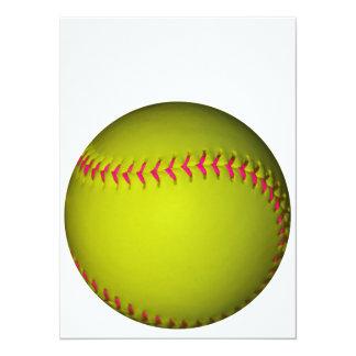 Le base-ball jaune avec les points roses carton d'invitation  13,97 cm x 19,05 cm