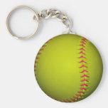 Le base-ball jaune avec les points roses porte-clé