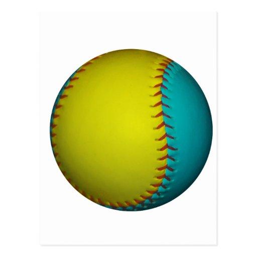 Le base-ball jaune bleu-clair et lumineux carte postale