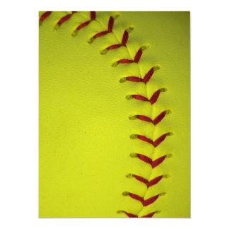 Le base-ball jaune de Dayglo Carton D'invitation 13,97 Cm X 19,05 Cm