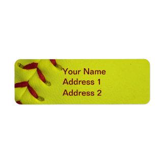Le base-ball jaune de Dayglo Étiquettes D'adresse Retour