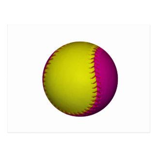 Le base-ball jaune et rose lumineux carte postale
