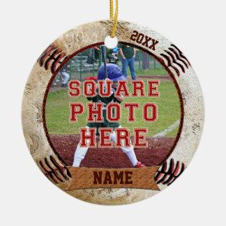 Le base-ball personnalisé de PHOTO ornemente le Ornement Rond En Céramique