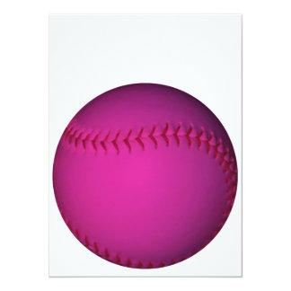 Le base-ball rose carton d'invitation  13,97 cm x 19,05 cm