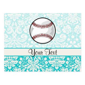 Le base-ball turquoise de motif de damassé carte postale