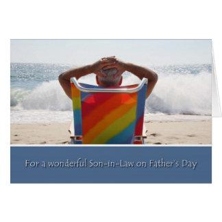 Le beau-fils de fête des pères, plage d'océan, carte de vœux