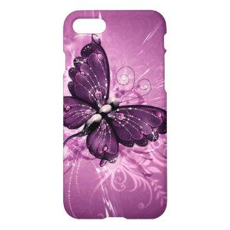 le beau remous de pourpre buterfly raye l'art de coque iPhone 7