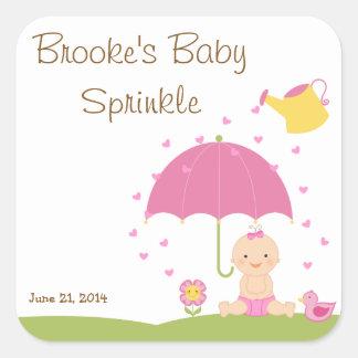 Le bébé arrosent l'étiquette de faveur de douche stickers carrés