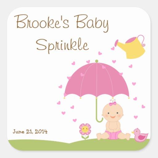 Le bébé arrosent l'étiquette de faveur de douche autocollants carrés