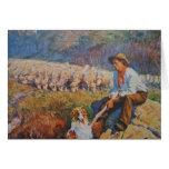 Le berger de moutons carte de vœux