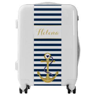 Le blanc de bleu marine barre l'ancre de feuille valises
