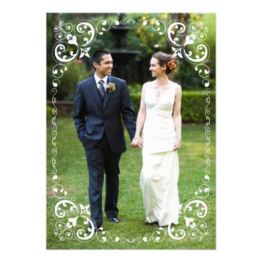 Le blanc de frontière de photo de mariage met en faire-parts