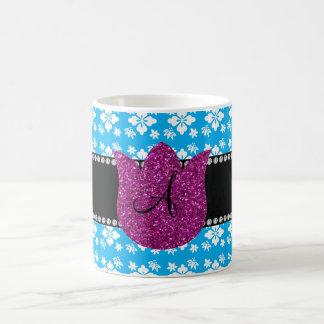 Le bleu fleurit la tulipe de diamants de monogramm tasse à café