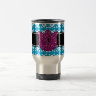 Le bleu fleurit la tulipe de diamants de monogramm mugs à café