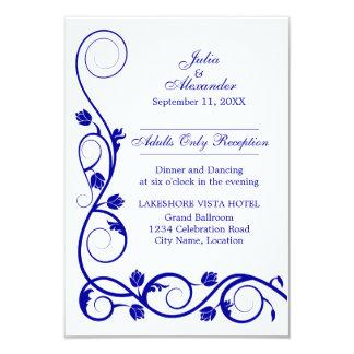 Le bleu royal élégant tourbillonne des cartes de carton d'invitation 8,89 cm x 12,70 cm