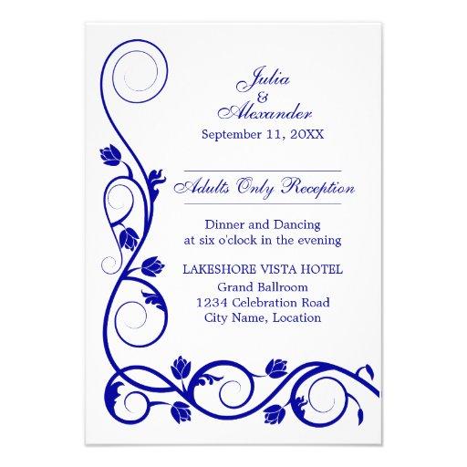 Le bleu royal élégant tourbillonne des cartes de r faire-parts