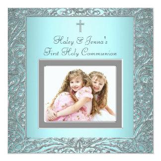 Le bleu turquoise jumelle la première communion de carton d'invitation  13,33 cm