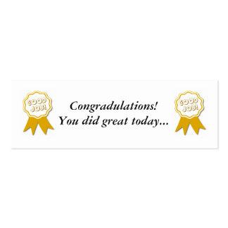 Le bon travail ! Bookmarker de récompense Cartes De Visite Personnelles