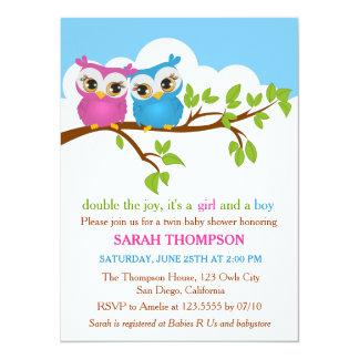 Le bonbon jumelle l'invitation de baby shower de carton d'invitation  13,97 cm x 19,05 cm