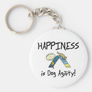 Le bonheur est porte - clé d'agilité de chien porte-clé rond