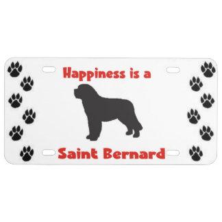 Le bonheur est un St Bernard Plaque D'immatriculation