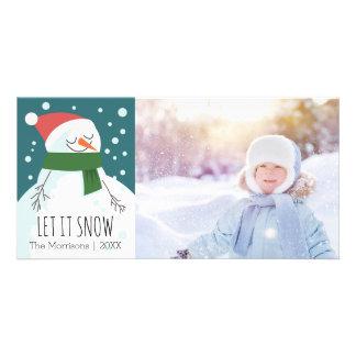 Le bonhomme de neige l'a laissé neiger photo photocartes