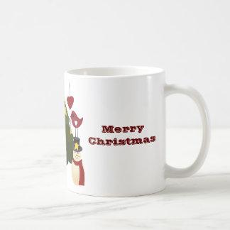 Le bonhomme de neige mignon d'arbre de vacances de mug blanc