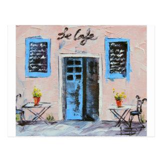 Le Cafe, peinture de couteau de palette en huile Carte Postale