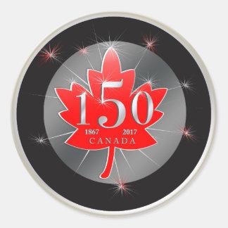 Le Canada feuille d'érable de célébration de 150 Sticker Rond