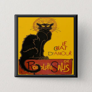 Le Chat D'Amour Love Greeting 2 Inch Square Button