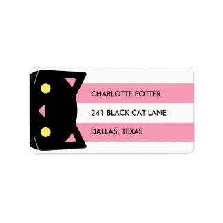Le chat noir curieux | barre | rose et blanc étiquettes d'adresse