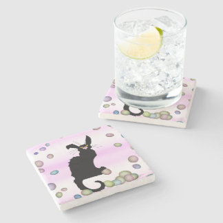 Le Chat Noir - Easter Bunny on Pink Background Stone Coaster