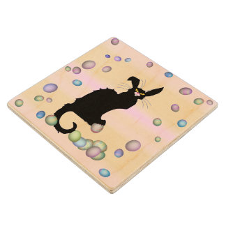 Le Chat Noir - Easter Bunny on Pink Background Wood Coaster