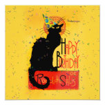 """Le Chat Noir - Happy Birthday Greetings 5.25"""" Square Invitation Card"""