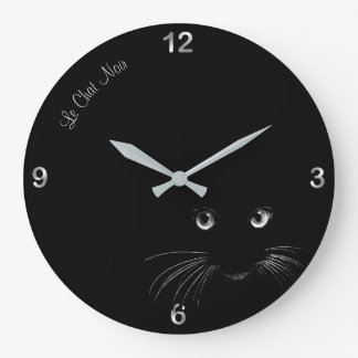 Le Chat Noir or Black Cat Magic Wall Clock