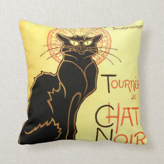 Le chat noir,Original billboard Throw Pillow