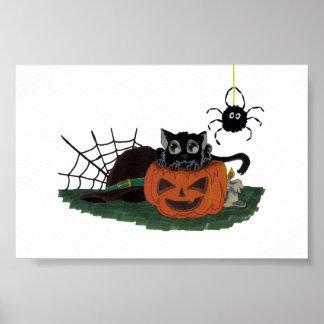 Le chat noir se repose sur Jack-o'-lantern avec Poster