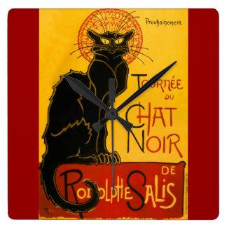 Le Chat Noir The Black Cat Art Nouveau Vintage Clocks