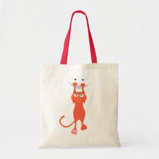 Le chat rouge est tombé vers le bas, sourire sac en toile budget