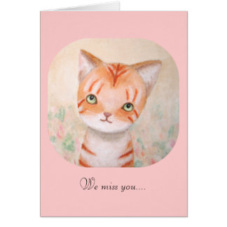 Le chaton orange mignon de chat tigré obtiennent carte