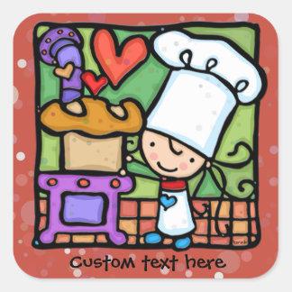 Le chef de LittleGirlie aime faire le pain cuire Sticker Carré