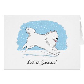 Le chien esquimau américain l a laissé neiger de carte de vœux